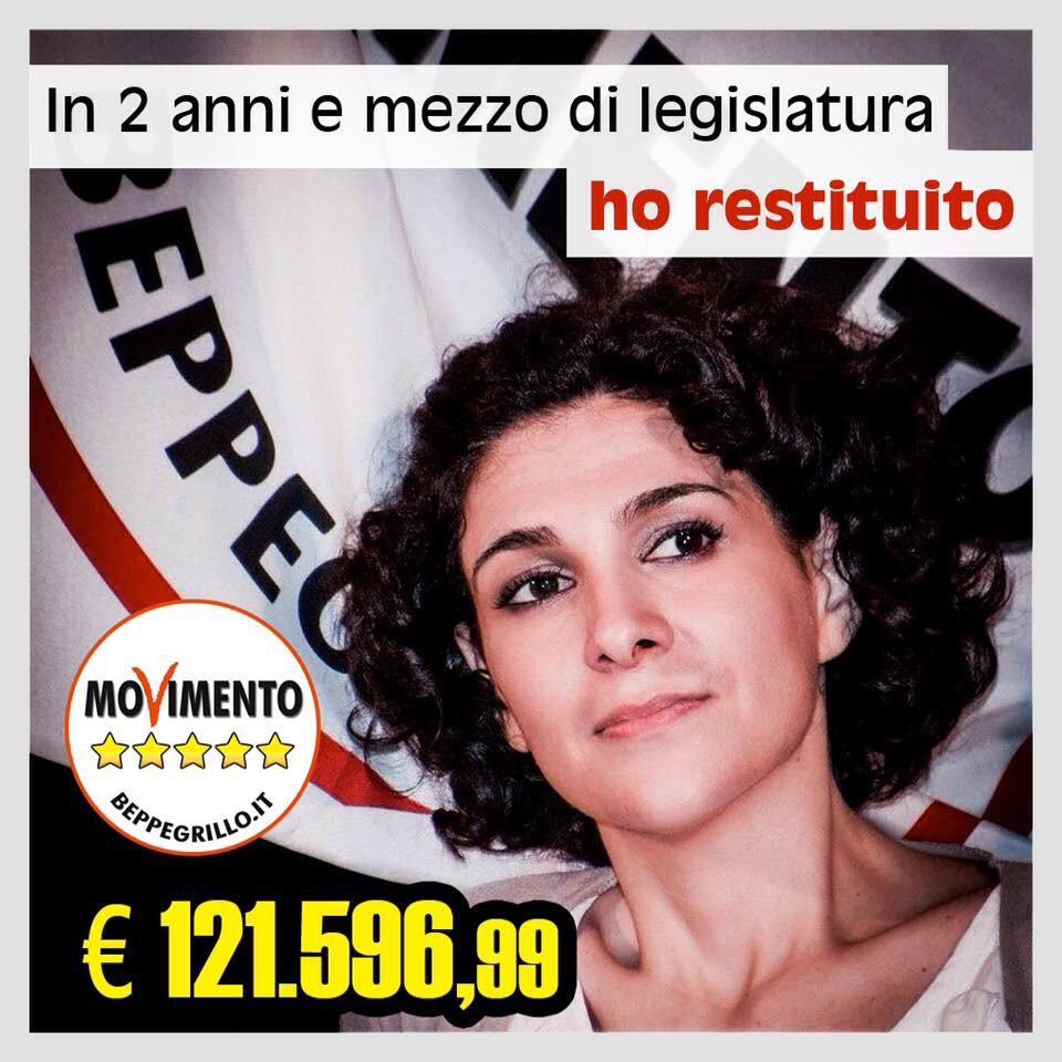 2 anni e mezzo di legislatura. Lieta di aver restituito121.596,99€