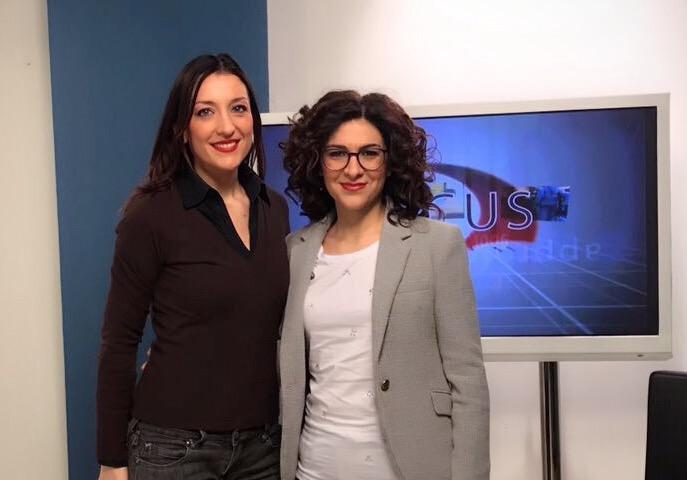 Marialucia Lorefice oggi ospite a Focus di E20 Sicilia e della giornalista ValentinaFrasca