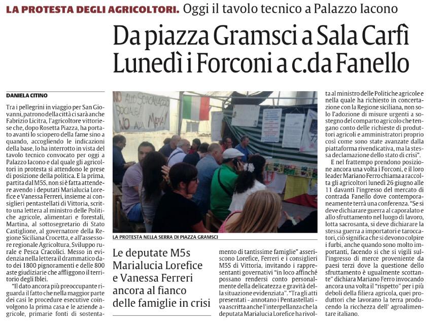 """Lorefice, Ferreri, consiglieri M5S Vittoria:""""Si dichiari lo stato di crisi del comparto agricolo ragusanoIl Governo attui azioniemergenziali"""""""