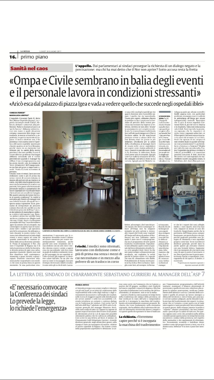 """Ospedali Ragusa, Lorefice e Ferreri:""""Bene che si inauguri il Nor. Prima però serve un progetto serio e concertato su trasferimenti di reparti epazienti"""""""