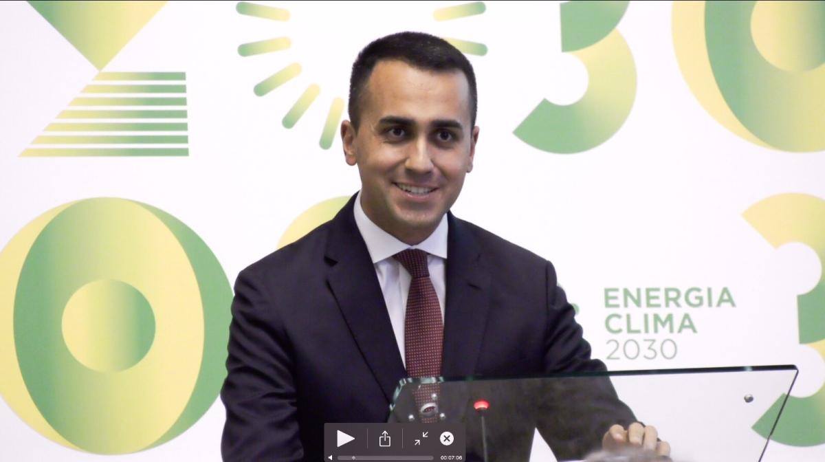 Luigi Di Maio presenta il Piano Nazionale Integrato per l'Energia e il Clima2030