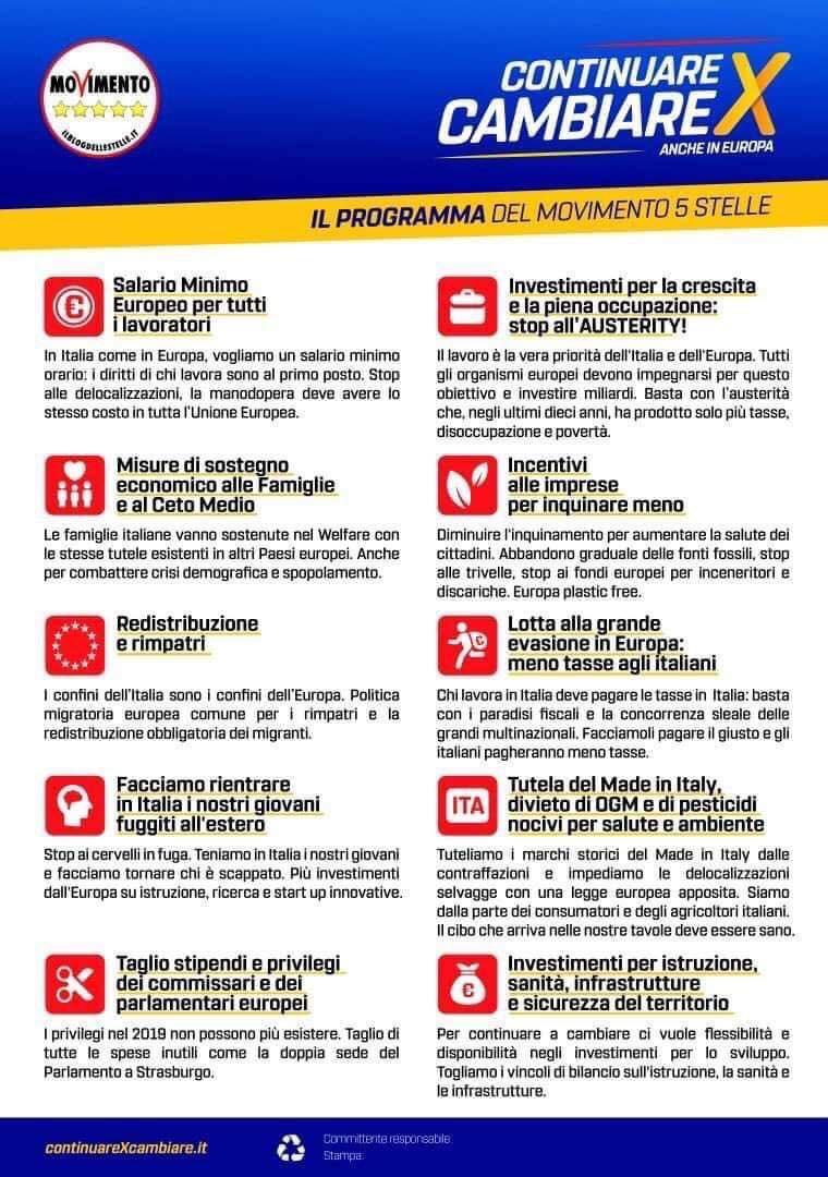 Continuare per Cambiare anche in Europa: Il programma delM5S