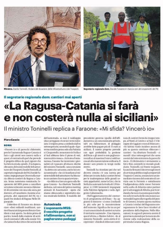 """Ragusa-Catania, Lorefice: """"Dossier pronto a breve. Lasbloccheremo"""""""