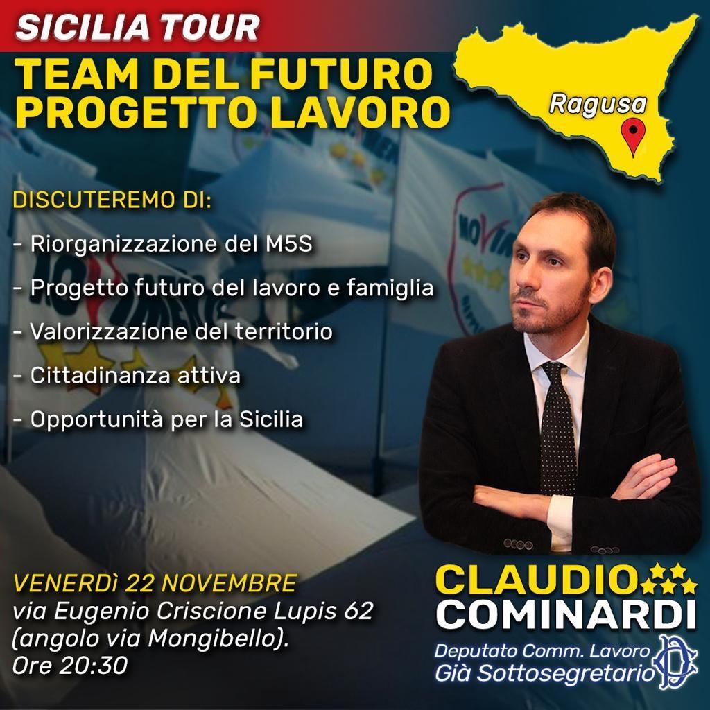 """Lorefice (M5S):""""Domani a Ragusa l'incontro con il dep. Comm. Lavoro, già SottosegretarioClaudio Cominardi"""""""