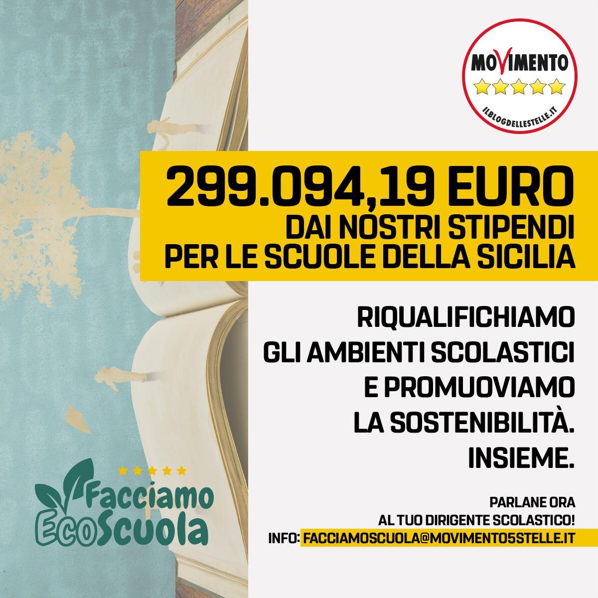 """""""Facciamo Ecoscuola"""", Lorefice (M5S): """"Per la Sicilia stanziati 300 mila euro"""" C'è tempo fino al 29febbraio"""