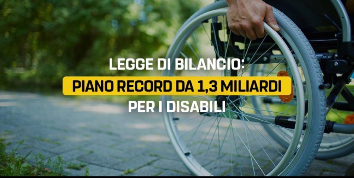 Piano straordinario da 1,3 miliardi per la disabilità in Legge diBilancio
