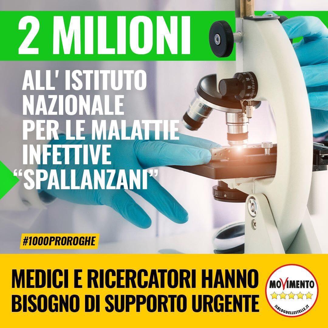 """Due milioni di euro per medici e ricercatori dell'Istituto """"Spallanzani"""" diRoma"""